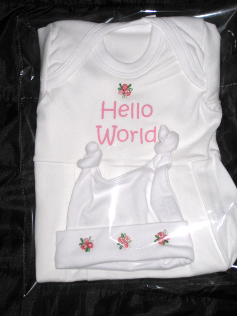 Hello world gown and hat - boy & girl